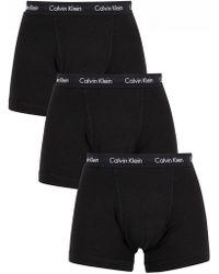 Calvin Klein - Black 3 Pack Cotton Stretch Trunks - Lyst