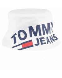 Tommy Hilfiger - Tommy Jeans Tju Logo White Bucket Hat - Lyst