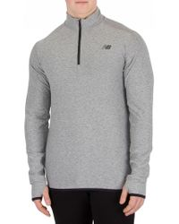 New Balance - Grey Transit Quarter Zip Top - Lyst