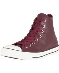 Converse - Dark Burgundy Ct All Star Hi Leather Trainers - Lyst