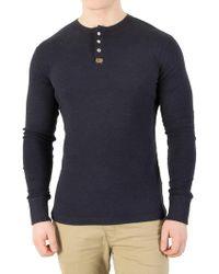 ae785936388c Superdry - Bass Blue Grit Heritage Longsleeved Grandad T-shirt - Lyst