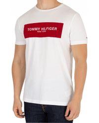 Tommy Hilfiger - Men's Box T-shirt, White Men's T Shirt In White - Lyst