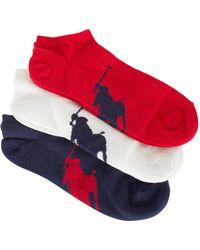 Polo Ralph Lauren - Navy/white/red 3 Pack Logo Ankle Socks - Lyst