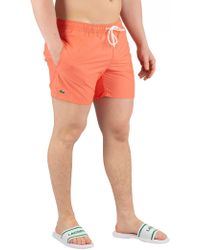 Lacoste - Orange Swimshorts - Lyst