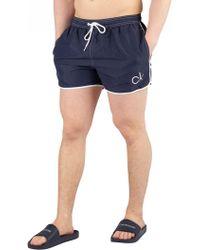 Calvin Klein - Blue Shadow Short Runner Swimshorts - Lyst