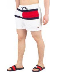 Tommy Hilfiger - White Medium Drawstring Swimshorts - Lyst