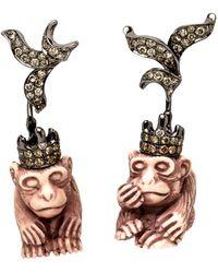 Wendy Yue | White Agate Monkey Earrings | Lyst