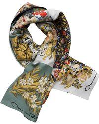 Oscar de la Renta Patchwork Floral Wool-blend Scarf - Green