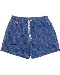 Kiton - Blue Melange Print Swim Short - Lyst