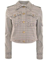 Sonia Rykiel - Plaid Cropped Jacket With Stud Details - Lyst