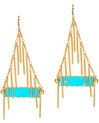 Devon Leigh - 24k Turquoise Fringe Earrings - Lyst