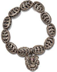 Loree Rodkin | Diamond Pave Leaf Bead Bracelet | Lyst