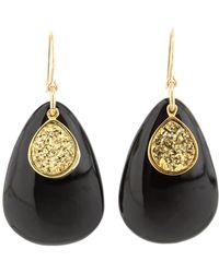 Nest - Black Horn Teardrop Earring With Gold Druzy - Lyst