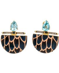 Silvia Furmanovich - Marquetry Blue Scale Lune Drop Earrings - Lyst