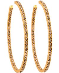Yossi Harari - Lilah Cognac Diamond Pave Hoop Earrings - Lyst