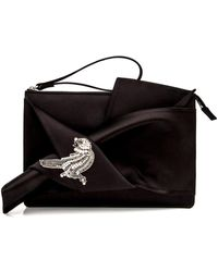 N°21 - Black Satin Embroidered Bow Clutch - Lyst