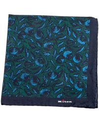 Kiton | Blue And Green Floral Print Pocket Square | Lyst
