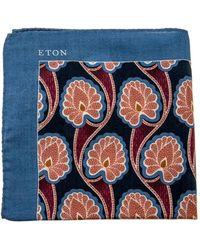 Eton of Sweden - Blue And Orange Floral Pocket Square - Lyst