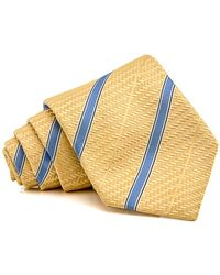 Isaia - Yellow With Blue Stripe Tie - Lyst