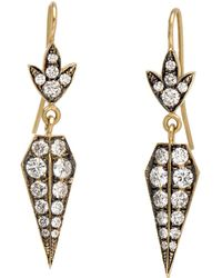 Sylva & Cie - Baby Shield Diamond Earrings - Lyst