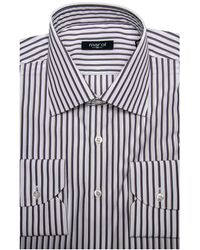 Marol - Taupe And Navy Stripe Dress Shirt - Lyst