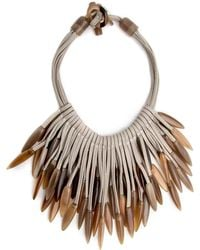 Nest - Horn Tip Leather Necklace - Lyst