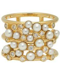 Nancy Newberg - Pearl And Diamond Cluster Ring - Lyst