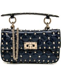 1dcd35951d Valentino - Small Pure Blue Patent Rockstud Spike Chain Bag - Lyst