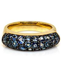 Sylva & Cie - Blue Sapphire Saddle Ring - Lyst