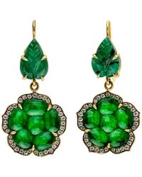 Sylva & Cie - Emerald And Jade Leaf Earrings - Lyst