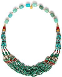 Devon Leigh - Turquoise, Coral, And Jade Necklace - Lyst