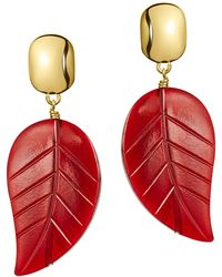 Nest - Red Horn Leaf Drop Earrings - Lyst
