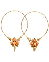 Ted Muehling - Coral And Orange Sapphire Mix Small Hoop Earrings - Lyst