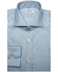 Kiton - Aqua And Charcoal Stripe Dress Shirt - Lyst