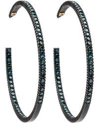 Yossi Harari - Lilah Pave Blue Diamond Hoop Earrings - Lyst