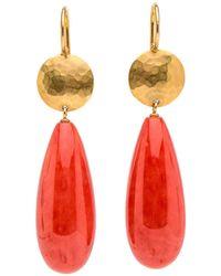 Darlene De Sedle - Gold Disc Coral Drop Earrings - Lyst