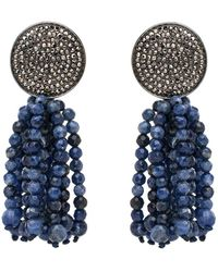 Nest - Pave Disk And Sodalite Tassel Clip On Earrings - Lyst