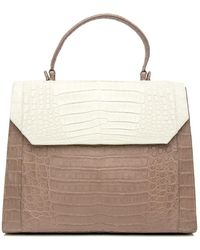 Nancy Gonzalez - Cream And Taupe Croc Lily Top Handle Bag - Lyst