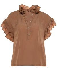 KOCH Nude Pixie Ruffle Short Sleeve Top - Brown