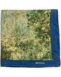 Kiton - Yellow Forest Print Pocket Square - Lyst