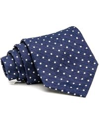 Isaia - Navy Blue And White Polka Dot Seven Fold Tie - Lyst