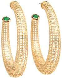 Roule & Co. - Sapphire And Tsavorite Crescent Hoop Earrings - Lyst