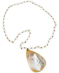 Nest - White Agate Bead Chain Horn Pendant - Lyst