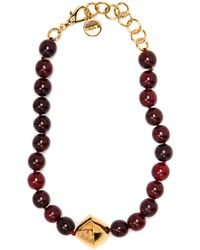 Nest - Red Horn Necklace With Gold Bicone - Lyst