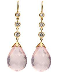 Darlene De Sedle - Rose Quartz Earrings With Bezel Set Diamonds - Lyst
