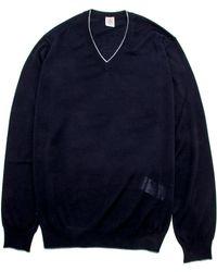 Eleventy - Navy V Neck Knit - Lyst