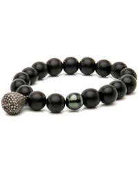 Hannah Ferguson - Ebony Bead With Diamond Pave Charm Bracelet - Lyst