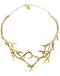 Nest - Gold Antler Collar Necklace - Lyst