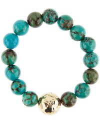 Nest - Jasper Turquoise And Gold Beaded Stretch Bracelet - Lyst