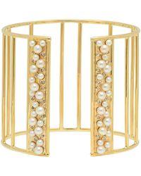 Nancy Newberg - Pearl And Diamond Gold Bar Cuff - Lyst